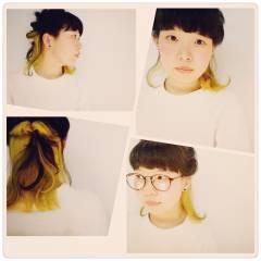 黒髪 オレンジ ガーリー アッシュ ヘアスタイルや髪型の写真・画像