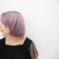 ピンク ボブ ブリーチ ダブルカラー ヘアスタイルや髪型の写真・画像