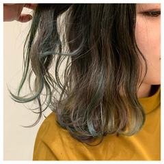 ミディアム ミニボブ ショートボブ インナーカラー ヘアスタイルや髪型の写真・画像