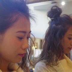 ヘアアレンジ 簡単ヘアアレンジ フェミニン ミディアム ヘアスタイルや髪型の写真・画像