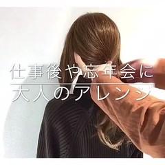 簡単ヘアアレンジ デート フェミニン オフィス ヘアスタイルや髪型の写真・画像