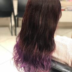 バイオレット ロング ピンク ブリーチカラー ヘアスタイルや髪型の写真・画像