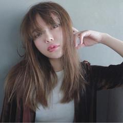 パーマ ストレート 前髪あり 透明感 ヘアスタイルや髪型の写真・画像