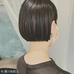 ミニボブ 縮毛矯正 ナチュラル 黒髪 ヘアスタイルや髪型の写真・画像