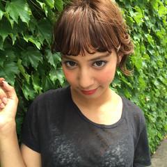 ワイドバング ハイライト 前髪あり ショート ヘアスタイルや髪型の写真・画像