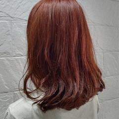 オレンジカラー ノーブリーチ アプリコットオレンジ かわいい ヘアスタイルや髪型の写真・画像