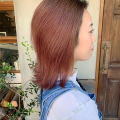 ナチュラル ピンク ピンクベージュ チェリーピンク ヘアスタイルや髪型の写真・画像