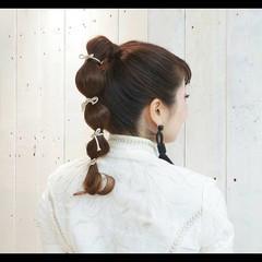 モード たまねぎアレンジ ポニーテールアレンジ セミロング ヘアスタイルや髪型の写真・画像