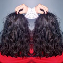ハイライト ミディアム ニュアンス パーマ ヘアスタイルや髪型の写真・画像