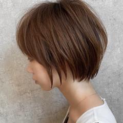 ママヘア ミルクティーベージュ ボブ ミニボブ ヘアスタイルや髪型の写真・画像