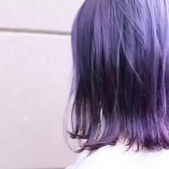 バレイヤージュ グラデーションカラー ハイトーン ミディアム ヘアスタイルや髪型の写真・画像