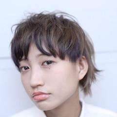 冬 グラデーションカラー ショート 前髪あり ヘアスタイルや髪型の写真・画像
