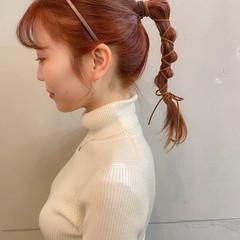セミロング 簡単ヘアアレンジ ガーリー ポニーテールアレンジ ヘアスタイルや髪型の写真・画像
