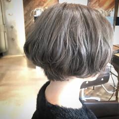 ブロンドカラー ベージュ 外国人風カラー ミニボブ ヘアスタイルや髪型の写真・画像