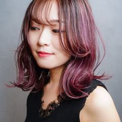 パープル ミディアム ピンクパープル 韓国ヘア ヘアスタイルや髪型の写真・画像