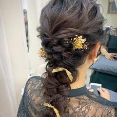 ロング ヘアアレンジ 編みおろしヘア 結婚式ヘアアレンジ ヘアスタイルや髪型の写真・画像