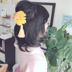 謝恩会 ハーフアップ ヘアアレンジ フェミニン ヘアスタイルや髪型の写真・画像