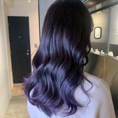 ロング 韓国ヘア ガーリー ラベンダーカラー ヘアスタイルや髪型の写真・画像