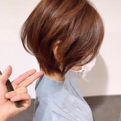 ミルクティーベージュ フェミニン 丸みショート ショート ヘアスタイルや髪型の写真・画像