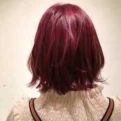 ラベンダーピンク ミディアム ピンクブラウン ピンクアッシュ ヘアスタイルや髪型の写真・画像
