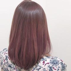 フェミニン グラデーションカラー ミディアム ピンク ヘアスタイルや髪型の写真・画像