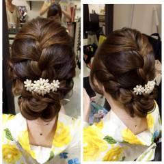 ヘアアレンジ 和装 大人女子 編み込み ヘアスタイルや髪型の写真・画像