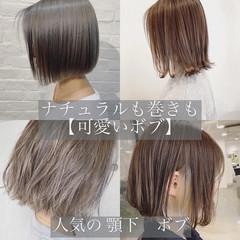 ショートヘア 切りっぱなしボブ 外ハネボブ ナチュラル ヘアスタイルや髪型の写真・画像