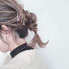 簡単ヘアアレンジ ナチュラル ミディアム ポニーテール ヘアスタイルや髪型の写真・画像