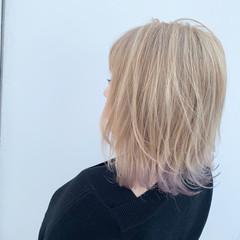 ミディアム ラベンダー ストリート ミルクティー ヘアスタイルや髪型の写真・画像