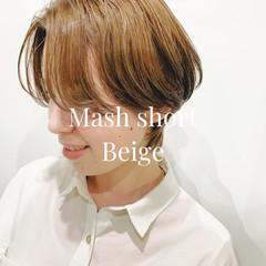 ナチュラル マッシュショート ショートマッシュ ブラウンベージュ ヘアスタイルや髪型の写真・画像