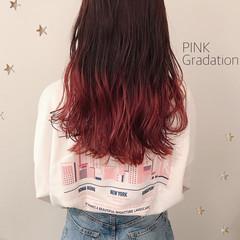 ロング グラデーションカラー ストリート ピンク ヘアスタイルや髪型の写真・画像