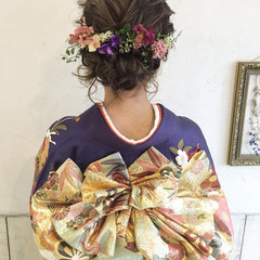 ヘアアレンジ 愛され フェミニン ミディアム ヘアスタイルや髪型の写真・画像
