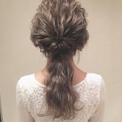 ヘアアレンジ ローポニーテール 結婚式 ロング ヘアスタイルや髪型の写真・画像
