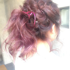 ヘアアレンジ ミディアム フェミニン 成人式 ヘアスタイルや髪型の写真・画像