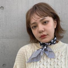 シアーベージュ ミルクティーベージュ ナチュラル 外ハネボブ ヘアスタイルや髪型の写真・画像