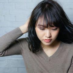暗髪 ストレート ミディアム ナチュラル ヘアスタイルや髪型の写真・画像