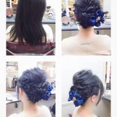 簡単ヘアアレンジ ツイスト 編み込み ショート ヘアスタイルや髪型の写真・画像