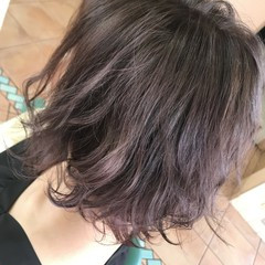 フェミニン アッシュ ボブ パープル ヘアスタイルや髪型の写真・画像