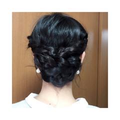 くるりんぱ 簡単ヘアアレンジ 黒髪 ショート ヘアスタイルや髪型の写真・画像