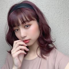 セミロング ガーリー ピンク ラベンダーピンク ヘアスタイルや髪型の写真・画像