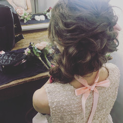 パーティ ゆるふわ フェミニン ロング ヘアスタイルや髪型の写真・画像