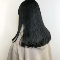 ブルーブラック 暗髪 ブルージュ ダークカラー ヘアスタイルや髪型の写真・画像