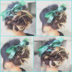 フェミニン ヘアアレンジ ミディアム ゆるふわ ヘアスタイルや髪型の写真・画像