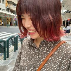 インナーカラー グラデーションカラー ナチュラル ミディアム ヘアスタイルや髪型の写真・画像