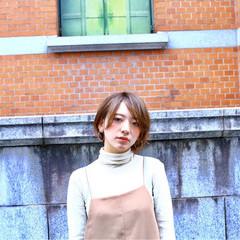 ショートボブ ショート うざバング 秋 ヘアスタイルや髪型の写真・画像