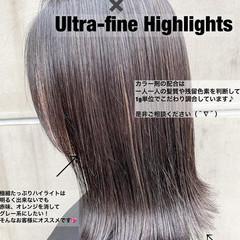 ハイライト ミディアム スポーツ バレイヤージュ ヘアスタイルや髪型の写真・画像