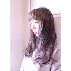 パーマ ラベンダー パープル ラベンダーアッシュ ヘアスタイルや髪型の写真・画像