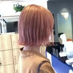 切りっぱなしボブ オレンジベージュ オレンジ ハイトーンボブ ヘアスタイルや髪型の写真・画像