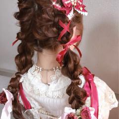 フェミニン ロング ツインテール ヘアアレンジ ヘアスタイルや髪型の写真・画像