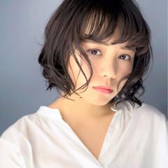 大人女子 小顔 ショートボブ 大人かわいい ヘアスタイルや髪型の写真・画像